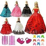 ZITA ELEMENT® Lot15PCS = 5 Magnifique Robe de Soirée + 5 Chaussures+ 3 Cintres + 2 Sac à Main Pour Barbie Poupée Vêtements - Random Style