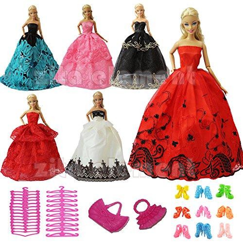 ZITA ELEMENT 5 Handgefertigte Fashion Partykleider Outfit für Barbie Kleidung,Los 15 Artikel,5 Schuhen, 3 Kleiderbügel, 2 Handtasche, 15-puppe Kleidung Für Die American Girl