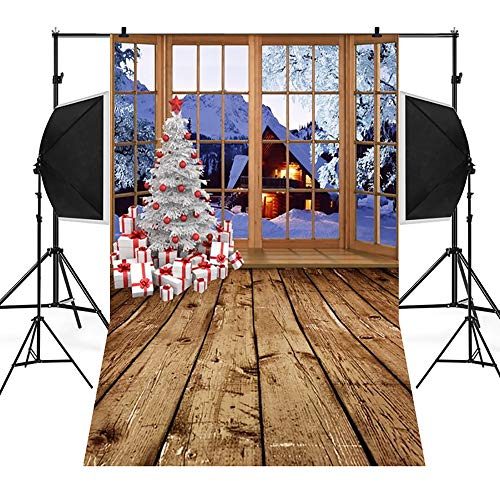 kingko 3x5FT Grey Fotohintergrund Weihnachten Schneeflocke Wooden Hintergründen Fotografie Party Photo Booth Hintergrund Fotografie Hintergrund Kulisse Digitaldruck Weihnachten (D)