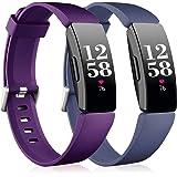 Vobafe 2 Pack Bandje Compatibel met Fitbit Inspire Bandje/Inspire HR Bandje, Zachte Siliconen Sportband Vervangende Bandje Co