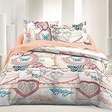 Vintage Love - SoulBedroom Juego de cama, 100% Algodón (funda de edredón 230x220 cm y 2 fundas de almohada 50x75 cm) / cama de 150 cm (matrimonio)