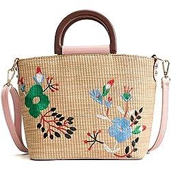 GAOQQ Stroh Tasche Weibliche Sommer Einfache Gewebte Tasche Einzelne Schulter Portable Umhängetasche Fairy Beach Bag,Pink