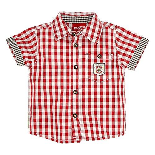 BONDI Karohemd ´Gipfelkraxler´, Karo Rot/Weiss 80 Tracht Baby Jungs Artikel-Nr.91006