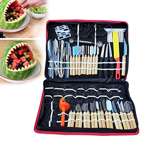 oukaning tragbar 80/Set Gemüse Obst Lebensmittel Holz Box Gravur Peeling Carving Werkzeug-Set Pack