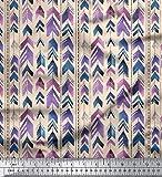 Soimoi Weiß Baumwolle Batist Stoff Pfeil & Streifen Dekor