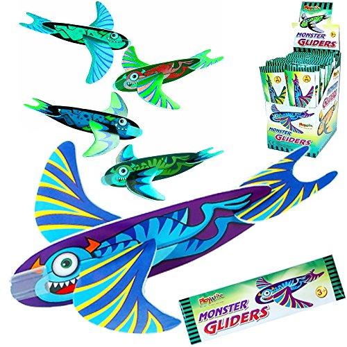 Preisvergleich Produktbild German Trendseller® - 12 x Monster Styropor Flug - Gleiter  für Kinder  Monster Party  Mitgebsel  Kindergeburtstag