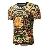 Bohe Slim Bluse T-Shirt Gelb Blumenmuster Rundhals Kurzarm T-Shirt Top,Gelb,M