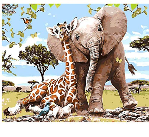 Elefantes Animales Pintura de Bricolaje Por Números Pintura Acrílica Por Números Arte...