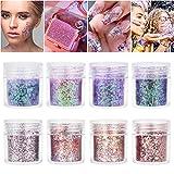 Purpurinas Polvo 8 colores Chunky Glitter con brillo cosmético Fiestas y festivales brillantes Decoración para rostro, ojos, uñas, cabello y cuerpo