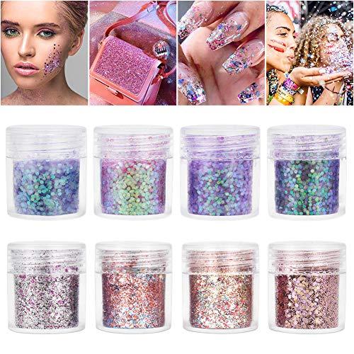 Purpurinas Polvo 8 colores Chunky Glitter brillo cosmético