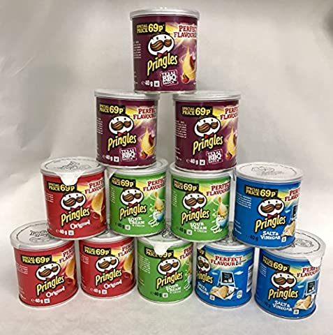 Pringles Pop & Go Travel Box 12 x Multi Flavour Pots, Sour Cream & Onion, Salt & Vinegar, Texas BBQ,