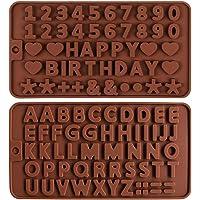 2pcs Moules en silicone pour bonbons et chocolats,Moule à Lettre en Silicone moules en silicone avec numéro de l…