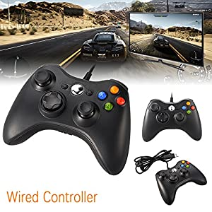 XCSOURCE Black Wired Game Controller Gamepad Joystick for Xbox 360 AC429