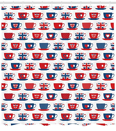 MLNHY Tea Party Shower Curtain, Great Britain Themed Teacup Forms Patterned Union Jack Hearts Flags, Fabric Bathroom Decor Set with Hooks, Vermilion Blue,Size:72W X 72L Inche Tan Teacup