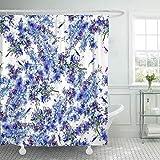 FimGGe Rideau de Douche en Tissu avec Crochets, Motif Exotique de Fleurs Sauvages Bleues et Violettes sur Une Branche, Aquarelle Lilac Blossom-180cm * 180cm