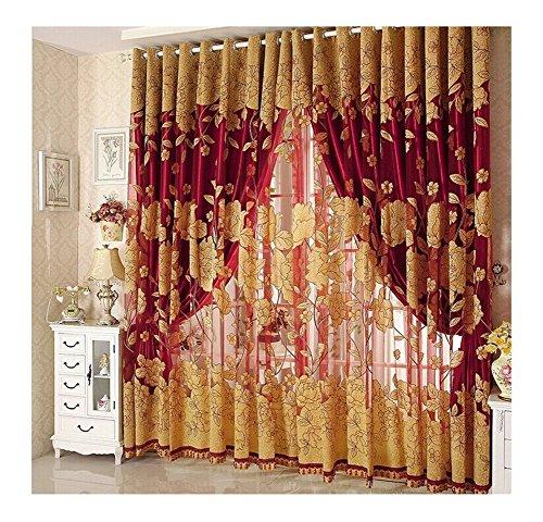 Diossad Rot Vorhang Gardine Fenster Gardine mit Perle Hem Und Vorhang Tuch für Wohnzimmer Schlafzimmer Blume Fenster Voilevorhang Tüll Vorhang (Fenster Vorhang Mit Perlen)