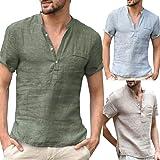 Ukallaite Men's Shirt&Men Solid Color Button V Neck Patch Pocket Linen Short Sleeve T Shirt Summer Top
