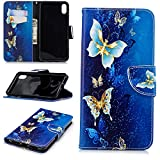 Artfeel iPhone XS Max Leder Brieftasche Hülle,Blau Golden Schmetterling Muster Bookstyle Flip Ständer Handyhülle mit Kartenhalter Magnetverschluss Kratzfest Stoßfest Schutzhülle für iPhone XS Max