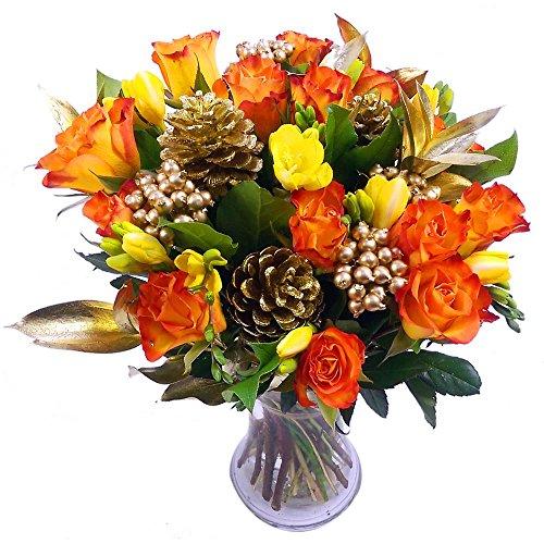 Clare Florist Festive Freesia And Rose Celebration Bouquet