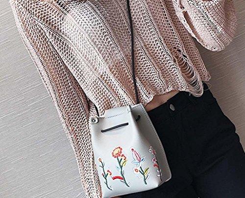 Hunpta Mädchen Frauen Retro weibliche einfache Blumenbeutel Crossbody Schulter Beutel Handtasche Grau