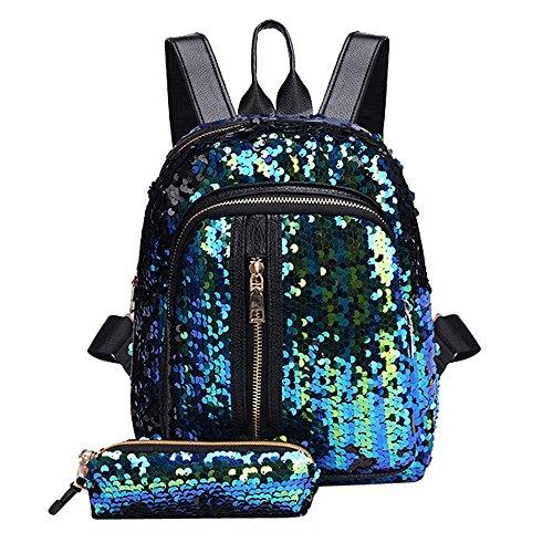 OSYARD Rucksäcke Schulranzen Backpack für Studenten Mädchen Frauen, Damen Mode Pailletten Schultasche Rucksack Reise Umhängetasche + Clutch Wallet,Freizeit Schultertaschen Daypacks Schultaschen-Sets