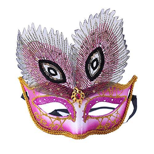 ianische Maske, bunte Pailletten, Spitze, Halloween-Kostüm, Maske, Kunststoff, Festival, Erwachsene, für Karneval, Party 17.5 * 18cm rosarot ()