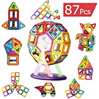 AUGYMER Magnetic Building Blocks Set, 87 Pcs Rainbow Color Magnetic Construction Creativity Thinking and Educational Gifts Stacking Toys for Children Kids with Carry Box Letters and Numbers Toys
