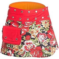 ufash Minifalda en Colores de Moda con Botones automáticos, Rojo