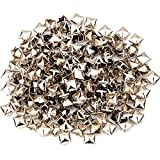 Beito 200 PCS 6mm Pyramidennieten Golden Square-Bolzen-Niet 4 Prongs Platz DIY Spike Punk Spikes Spots