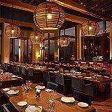 Pendelleuchte Hängeleuchte Rattan Kronleuchter kreative rattan Zuckerrohr Lampe leuchtet Restaurant manuell Bambus Lampen rattan 260 * 220 mm Kronleuchter,