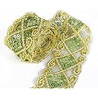Lentejuelas Malla Encaje Trim cinta de encaje apliques de coser Craft Supplies 12yardas para ropa cortina haciendo camino de mesa decoración