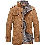 QIANSHION 2020 Giacche in Ecopelle Cappotto da Uomo vestibilità Slim Elegante Tinta Unita Giacconi Cappotto Caldo Giacca