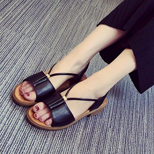 Hunpta Mode Damen Schuhe Böhmen flache Schuhe Sandalen Damenschuhe Schwarz