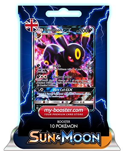Preisvergleich Produktbild UMBREON GX 80/149 200HP SUN AND MOON 1 - Booster mit 10 Englische Karten Pokemon my-booster