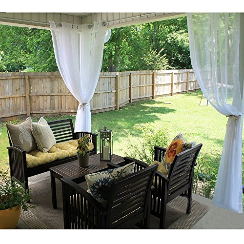 Outdoor Sheer Vorhänge für Terrasse, RYB Home Tülle Top Windows Behandlung Sheer Voile Vorhänge - Küche Terrasse Vorhänge