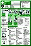 Schild PVC Anleitung zur Ersten Hilfe 595x410mm