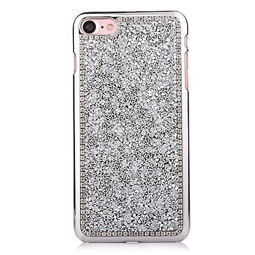"""iPhone 7 Hülle, iPhone 7 Kristall Motiv Handytasche, Bling Glitzer Diamant Series CLTPY 3D Kreativ Überzug Hartplastik Schutzfall für 4.7"""" Apple iPhone 7 + 1 x Stift - Blau Silber"""