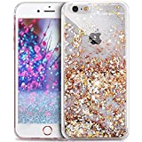 Kompatibel mit iPhone 5S/5 Hülle,iPhone SE Hülle,Durchsichtige Glitter Glänzend Bling Glitzer Diamond Diamant Fließen Treibsand Handyhülle Handy Hülle Tasche Schutzhülle,Golden Diamant Pailletten