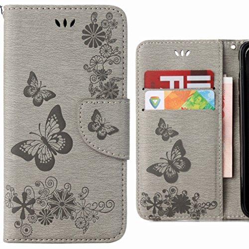 Ougger cover sony xperia xa2 custodia portafoglio pu pelle magnetico morbido silicone flip cover protettivo custodia sony xperia xa2 con slot per schede, striscia farfalla (grigio)