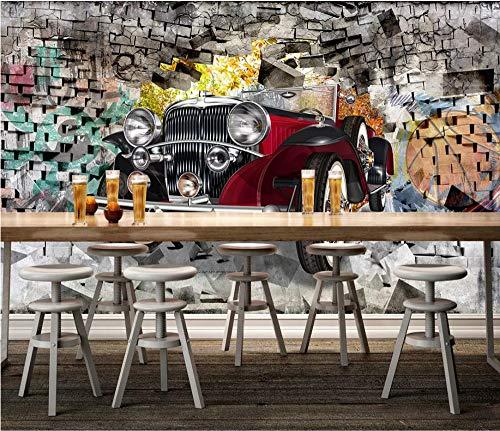 Keshj Carta Da Parati Personalizzata 3D Auto D'Epoca Classica Vintage Ristorante Hotel Sfondo Muro Murale Carta Da Parati-250cmx175cm