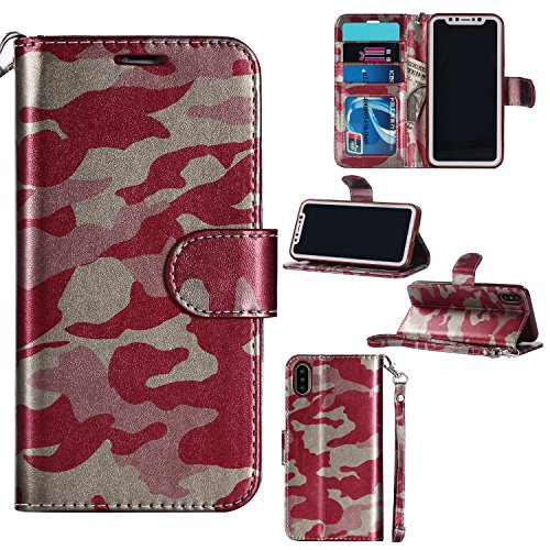 (Jusheng Großhandels-PU-Leder-Schlag-Kastenabdeckung Armee-Tarnungs-Kreditkarte-Geldbörse für iPhone x 10 (Color : Red, Size : Ipx))