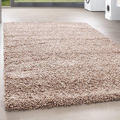 Teppiche PRIO SHAGGY für Wohnzimmer, Gästezimmer, Jugendzimmer oder Küche mit 3 cm Florhöhe PRIO 90000 hochflor shaggy einfarbig Teppiche, Farbe:Beige, Maße:60x110 cm
