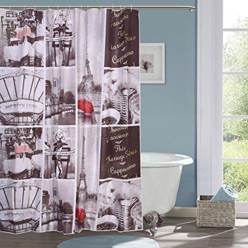 ININSIGHT SOLUTIONS PVC Printed Bathroom Shower Curtain 6 feet with 12 Hooks (180 x 180 cm, Multicolour)