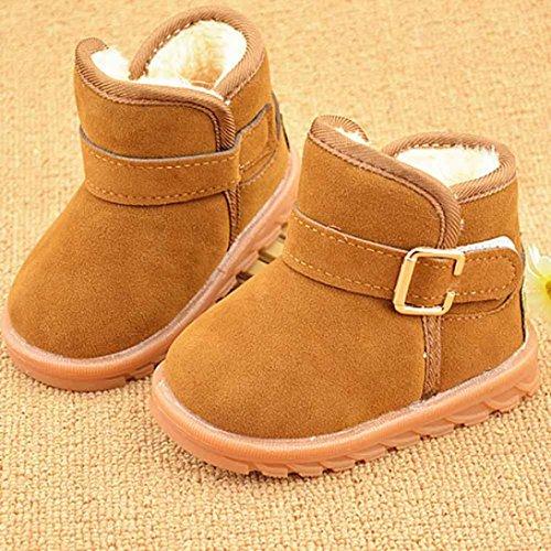 BZLine® Style Souple - Bébé Keep Warm Chaussure d'Hiver en Coton - Caoutchouc Semelle (32~36 Mois, Rose) Kaki1