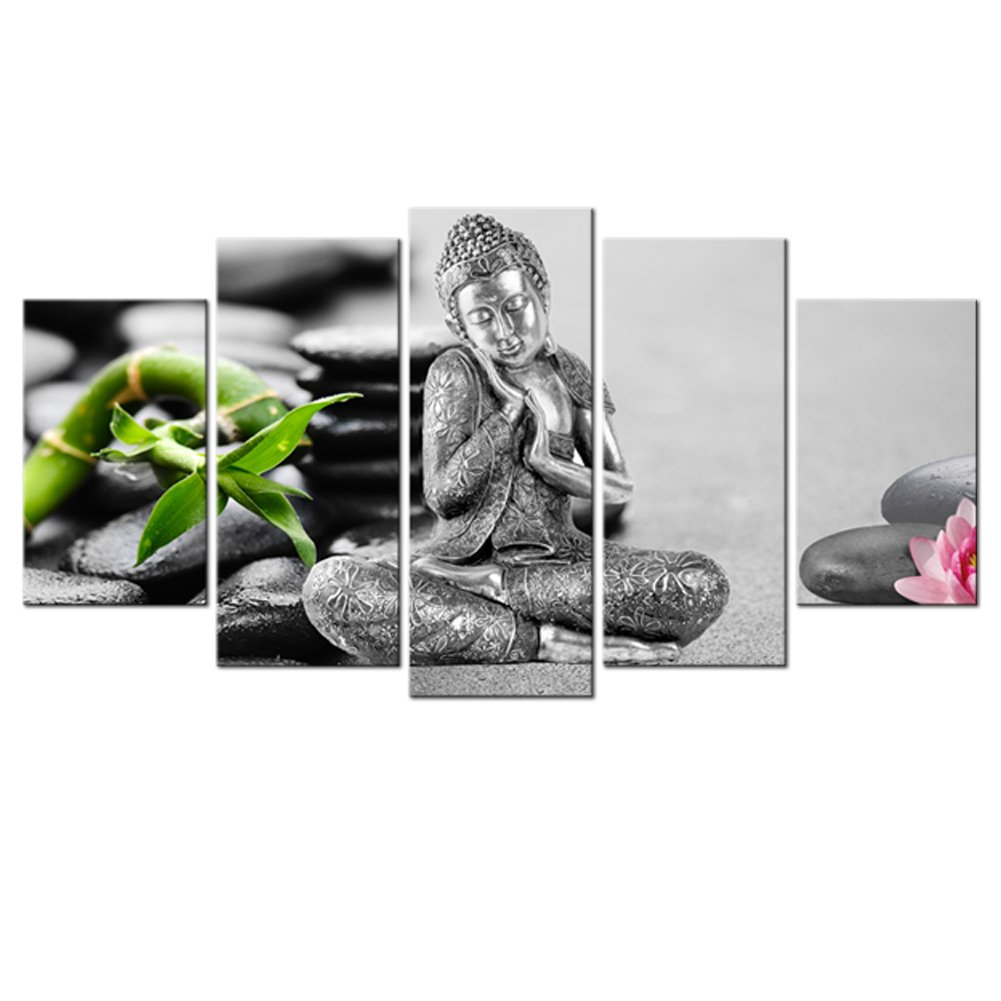 5 pannelli Buddha immagine Cobblestone background stampato Abstract painting Wall Art for home deco