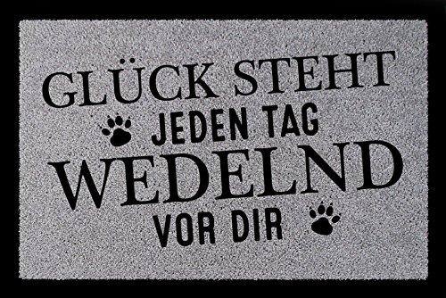 TÜRMATTE Fußmatte GLÜCK STEHT JEDEN TAG WEDELND VOR DIR Hund Eingang Spruch Hellgrau