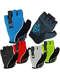 CVC EvaGel Padded Fingerless Cycle Gloves - Short Finger Mitts with Anti-Slip Grip for MTB and Road Cycling, Gym, Crossfit, Weight Lifting Men and Women (High Viz Yellow, Large)
