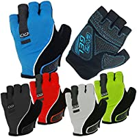 CVC EvaGel Padded Fingerless Cycle Gloves - Short Finger Mitts with Anti-Slip Grip for MTB and Road Cycling, Gym, Crossfit, Weight Lifting Men and Women