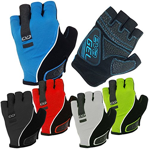 CVC EvaGel Padded Fingerless Cycle Gloves - Short Finger Mitts with Anti-Slip Grip for MTB and Road Cycling, Gym, Crossfit, Weight Lifting Men and Women (Sky Blue, Large)