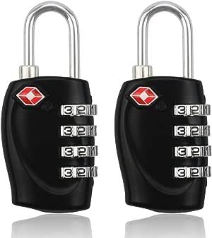 BlueBeach® 2 Stück TSA Schloss Reiseschloss Für Koffer Gepäck Sicherheit 4 Stellige Kombination Anzahl Vorhängeschloss